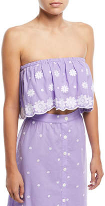 Miguelina Camelia Polka-Dot Daisy-Embroidered Crop Top