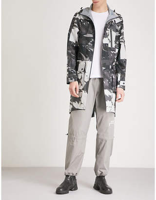 RAEBURN X SAVE THE DUCK Abstract camouflage-print hooded shell parka coat