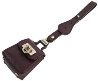 Salvatore Ferragamo Gancini Leather Purple Silver Tone Hardware Charm