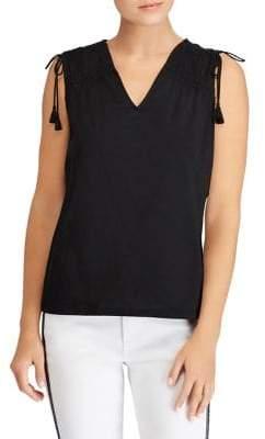 Lauren Ralph Lauren Petite Tassel-Tie Jersey Top