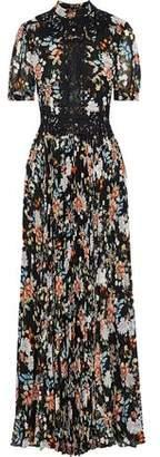 Mikael Aghal Appliqued Metallic Floral-print Plisse-chiffon Maxi Dress