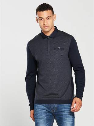 Ted Baker Ls Diamond Front Polo Shirt