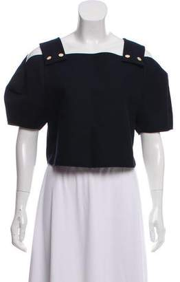 Tibi Cold-Shoulder Short Sleeve Top