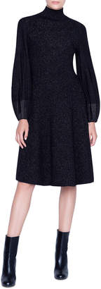 Akris Shimmered Wool-Crepe Blouson Sleeve Dress