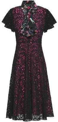 Etro Printed Crepe De Chine-Trimmed Lace Midi Dress