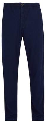 Oliver Spencer Concealed Drawstring Cotton Trousers - Mens - Navy