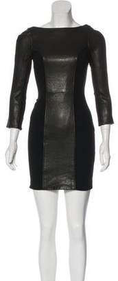 Diane von Furstenberg Leather-Panel Bodycon Dress
