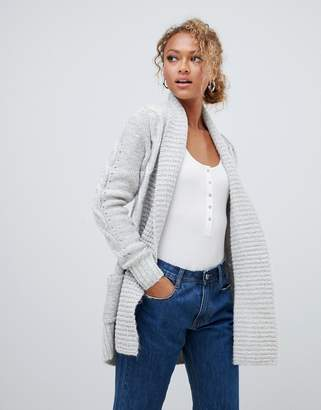 New Look cable cardigan in grey