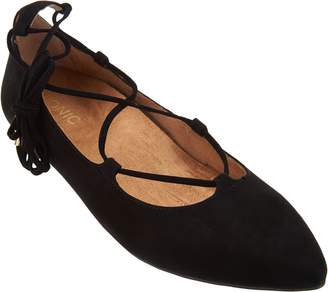 Vionic Orthotic Suede Lace-up Flats - Lucinda