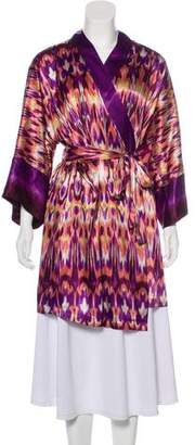 Oscar de la Renta Satin Printed Robe