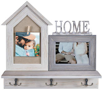 """Danya B. """"Home"""" Entryway Shelf Picture Frame with Hooks"""