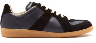 Maison Margiela Replica Suede Panel Low Top Leather Trainers - Mens - Navy Multi