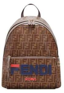 Fendi Men's Mania Printed Coated Canvas Backpack - Brown