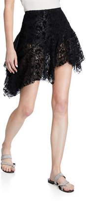 ANAÏS JOURDEN Velvet-Lace High-Low Skirt