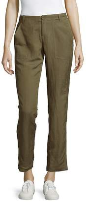 Leo & Sage Women's Solid Straight-Leg Ankle Pants