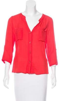 Needle & Thread Collarless Button-Up Top