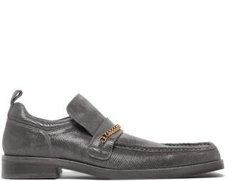 Martine Rose Chain Trimmed Square Toe Leather Loafer - Mens - Grey