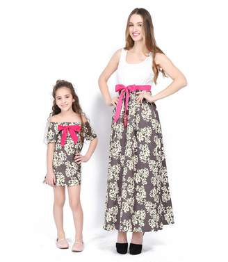 Enfei Women's Print Round Neck Sleeveless Long Maxi Casual Dress Parent-Child Shirt Dress Family Clothes