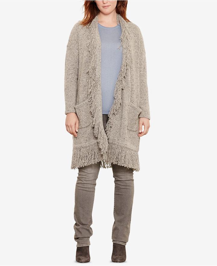 Lauren Ralph Lauren Plus Size Fringe Merino Wool Cardigan