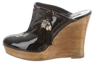 Le Silla Patent Leather Wedge Mules