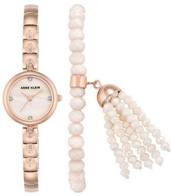 Anne KleinAnne Klein Swarovski Crystal Studded Round Bracelet Watch