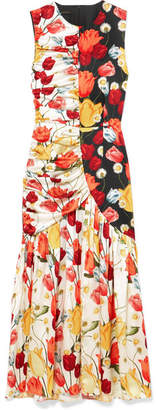 Mother of Pearl Pauletta Ruched Floral-print Silk-satin Midi Dress