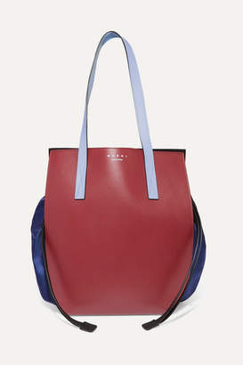 Marni Color-block Leather And Shell Shoulder Bag - Navy