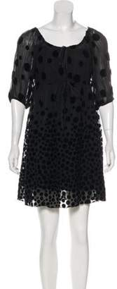 Anna Sui Velvet-Accented Mini Dress Black Velvet-Accented Mini Dress
