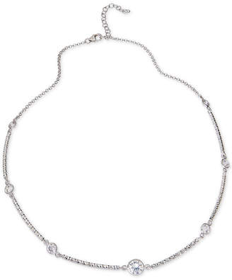 "Giani Bernini Cubic Zirconia Station Collar Necklace in Sterling Silver, 16"" + 2"" extender, Created for Macy's"