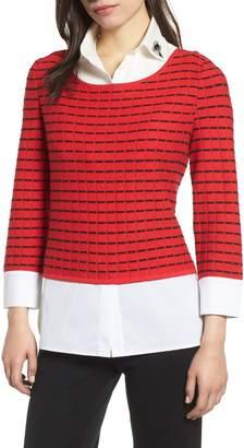 Ming Wang Stripe Sweater with Shirt Underlay