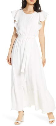 Chelsea28 Ruffle Sleeve Cotton Maxi Dress