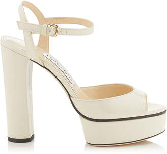 Jimmy Choo PEACHY 125 Linen Patent Leather Platform Sandals