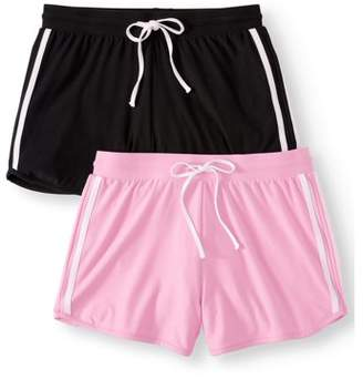 No Boundaries Juniors' Basic Knit Shorts with Tie-Front 2pk Value Bundle