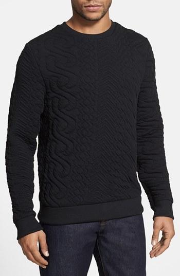 Topman Quilted Crewneck Sweatshirt