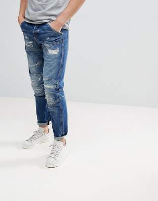 G Star G-Star 5620 3d Tapered Jeans Medium Aged With Abraisions