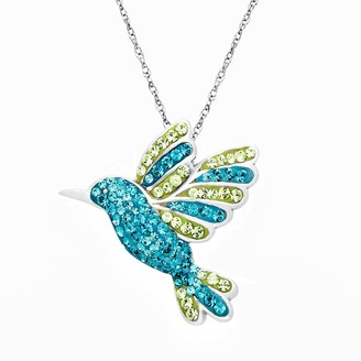Swarovski Artistique Sterling Silver Hummingbird Pendant - Made with Crystals