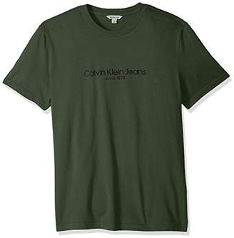 Calvin Klein Men's Short Sleeve T-Shirt Old School Logo Crew Neck