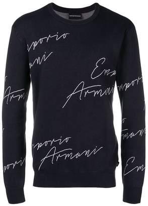 Emporio Armani script logo sweater