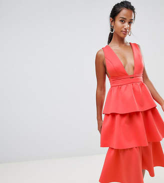 d524685a33 Asos DESIGN Petite Tiered Prom Midi Dress