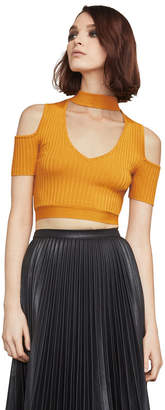 BCBGMAXAZRIA Petral Cold-Shoulder Crop Top