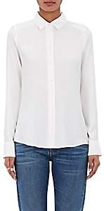 Barneys New York Women's Silk Satin-Back Crepe Shirt - White