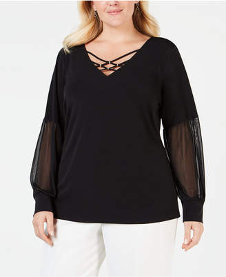 JM Collection Plus Size Strappy Chiffon-Sleeve Top