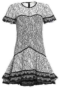 Jonathan Simkhai Women's Multimedia Corded Lace Ruffle Hem Dress