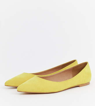 Asos Design DESIGN Latch pointed ballet flats in yellow