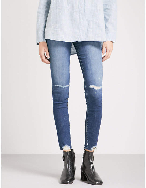 Maria distressed skinny high-rise jeans