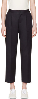 A.P.C. Navy Amalfi Trousers $290 thestylecure.com