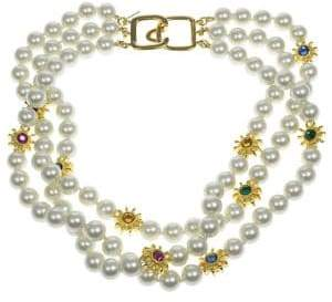 Kenneth Jay Lane 8MM Pearl Three-Row Necklace