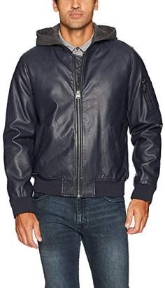 Levi's Men's Faux Leather Bomber with Hood