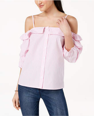 Ultra Flirt by Ikeddi Juniors' Striped Off-The-Shoulder Button-Front Blouse