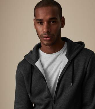 Reiss Our last order date for Christmas has now passed EATON ZIP THROUGH HOODIE Charcoal Melange